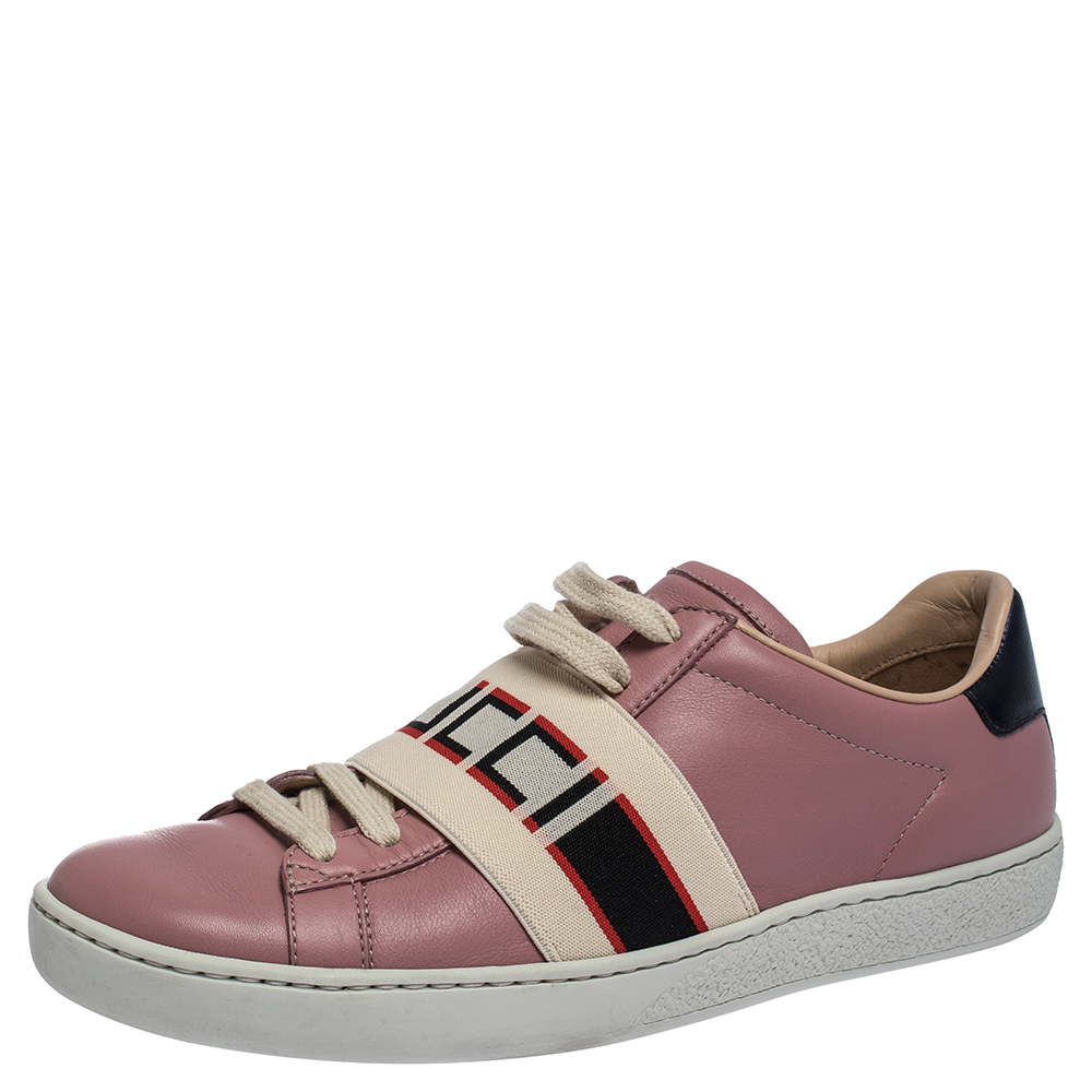 Gucci Pink Leather And Elastic Ace Band Low-Top Sneakers Size 36