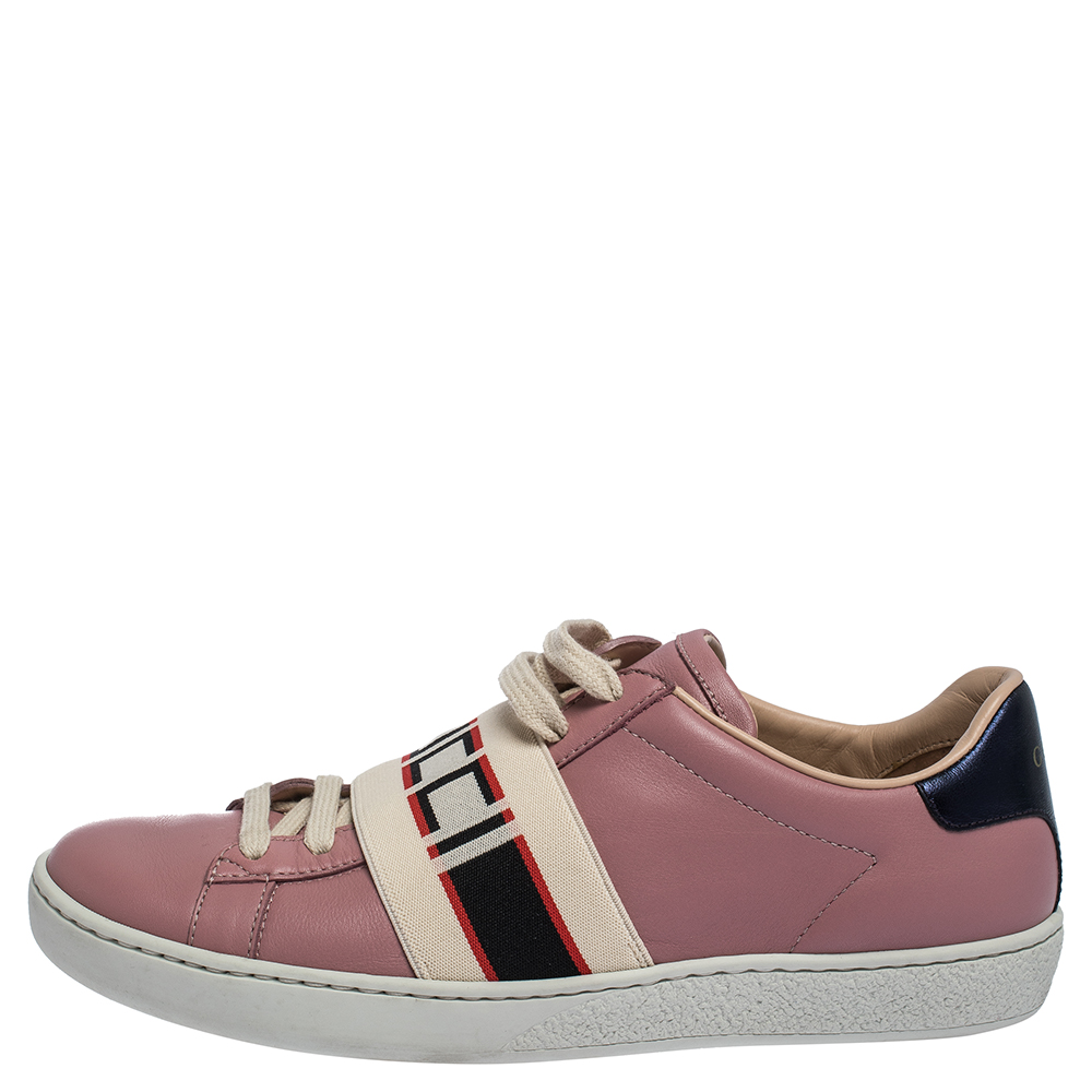 Gucci Pink Leather And Elastic Ace Band Low-Top Sneakers Size