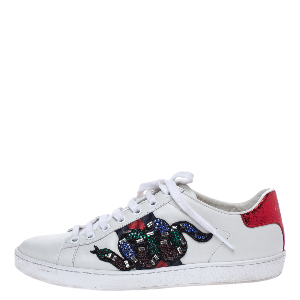 Gucci White Leather Crystal Embellished Snake Python Trim Web Detail Ace Low Top Sneakers Size