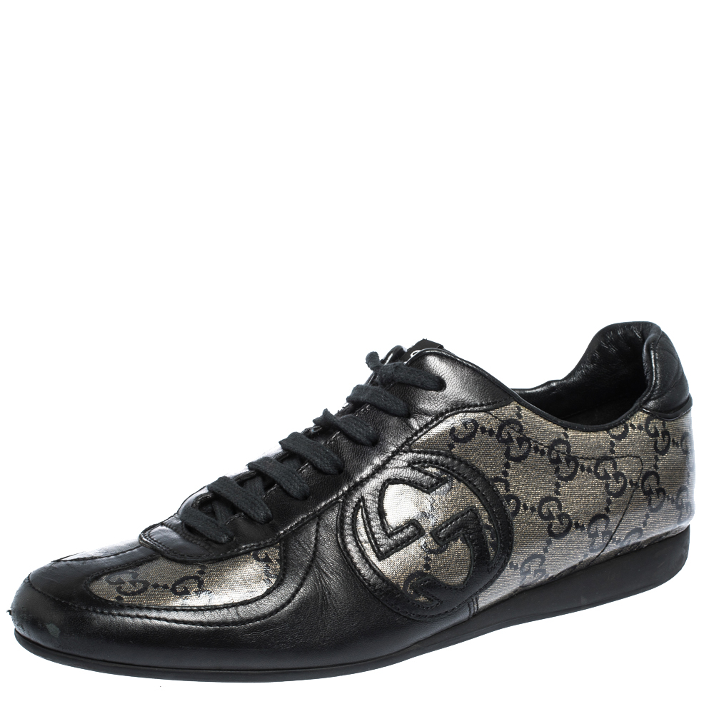 Gucci Black/Beige GG Coated Glitter Canvas Low Top Sneakers Size 37.5
