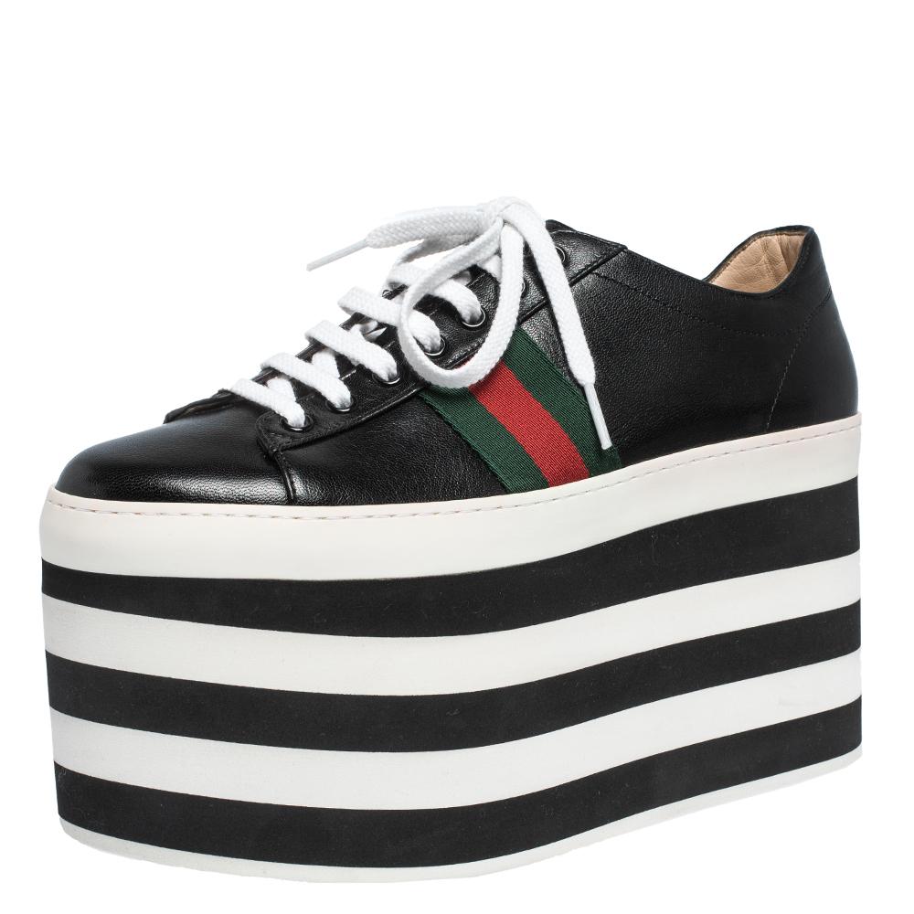 Gucci Black Leather Peggy Web Detail Platform Sneakers Size 39