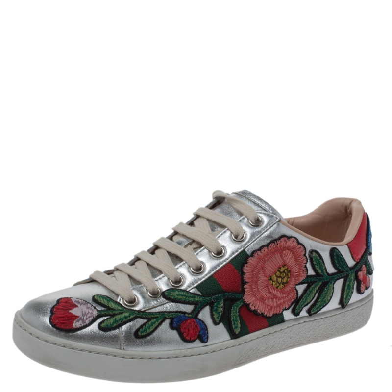 Gucci Silver Metallic Leather Ace Embroidered Low Top Sneakers Size 37
