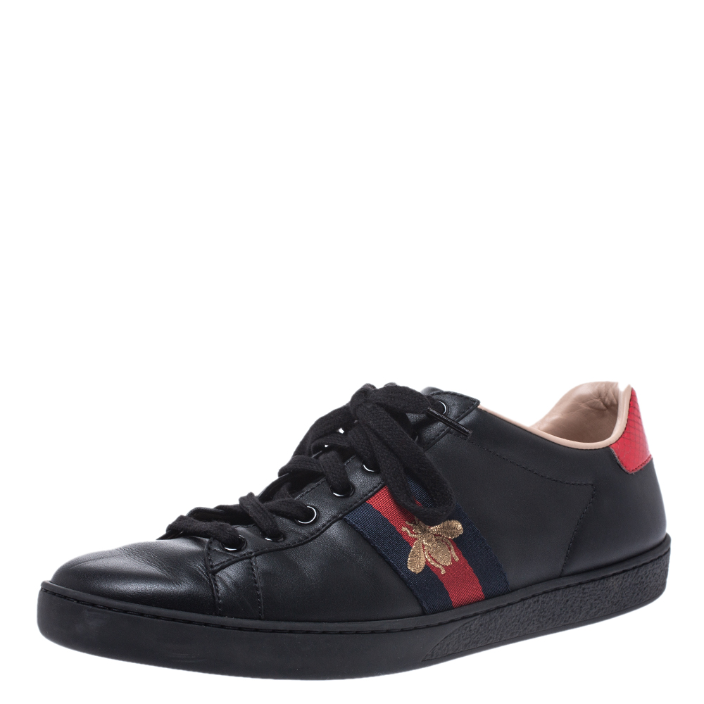 Gucci Black Leather Ace Web Bee Low Top Lace Up Sneakers Size 38.5