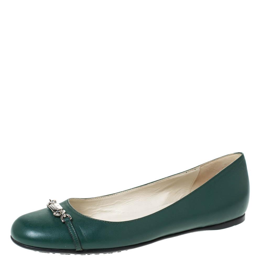 Gucci Green Leather Horsebit Ballet Flats Size 40