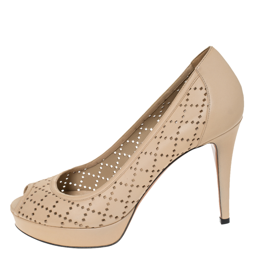 Gucci Beige Perforated Leather Peep Toe Platform Pumps Size