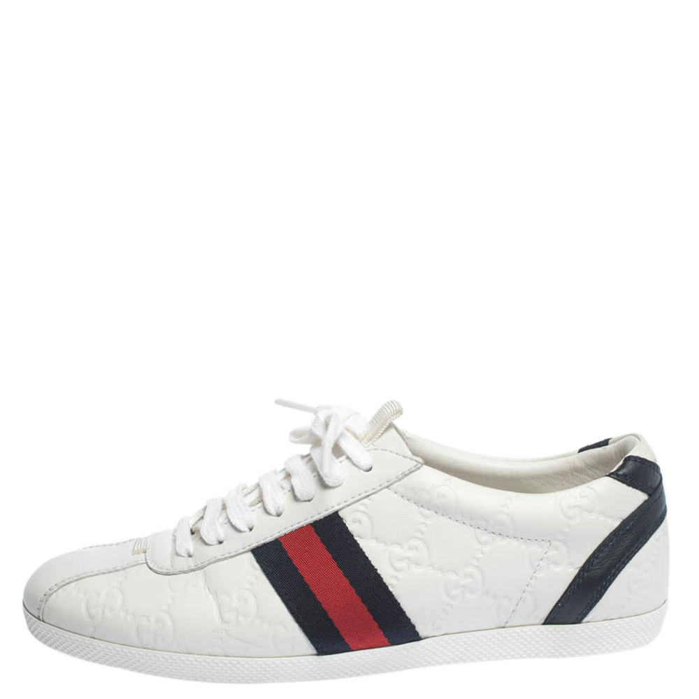 Gucci White Guccissima Leather Web Detail Low Top Sneakers Size