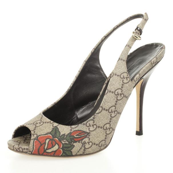 0c0c93785ffe Buy Gucci Guccissima Tattoo Heart Peep Toe Slingback Sandals Size ...