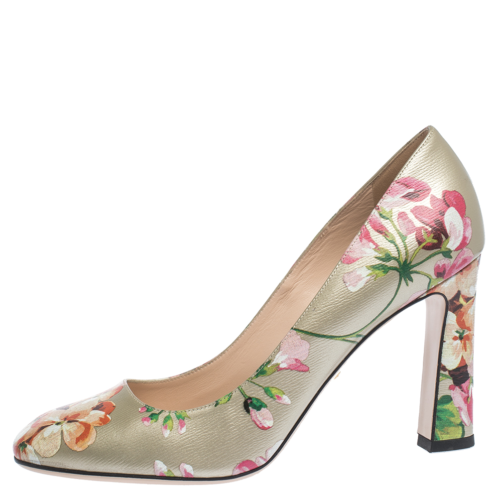 Gucci Multicolor Floral Printed Leather GG Supreme Blooms Pumps Size 41