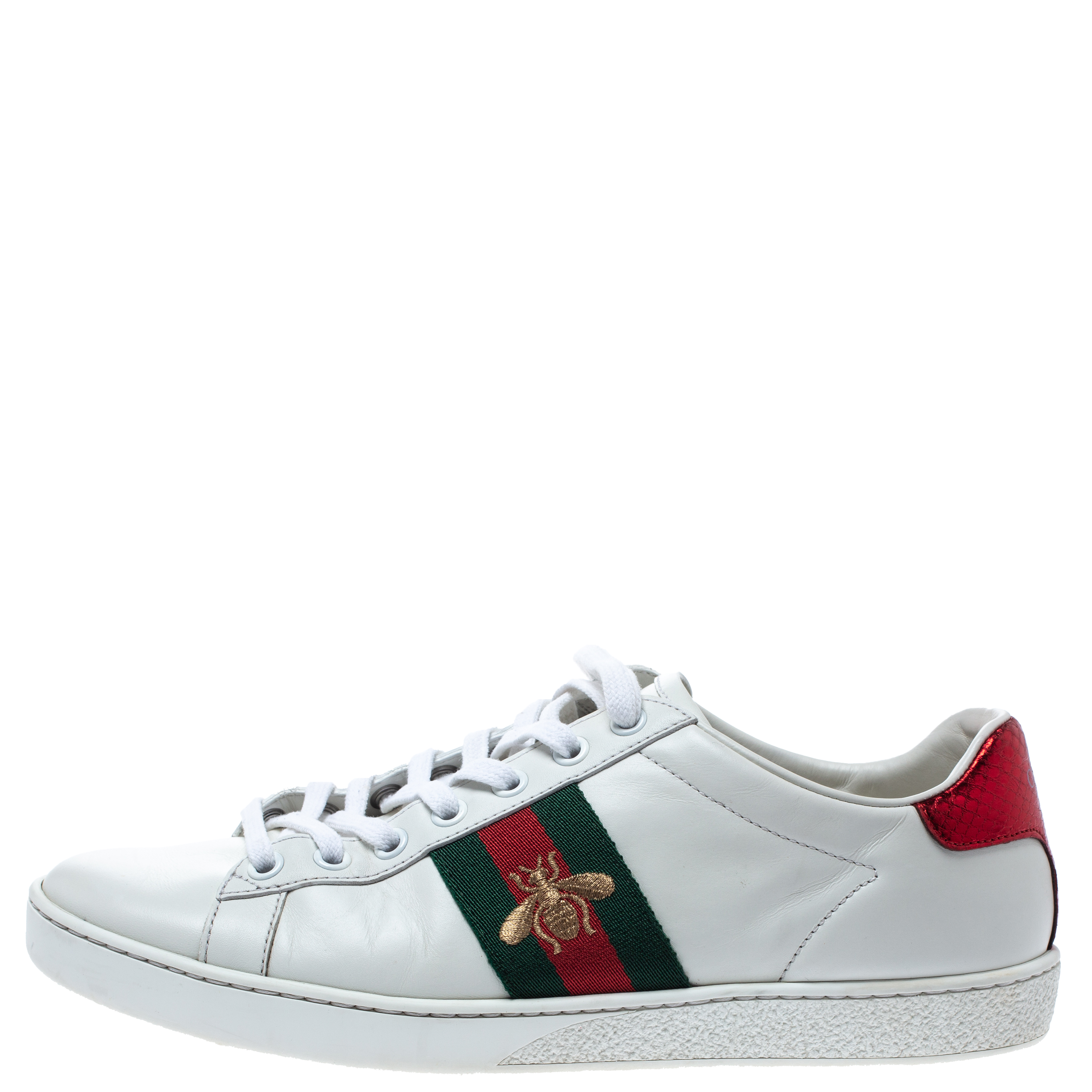 Gucci White Leather Ace Web Detail Low Top Sneakers Size