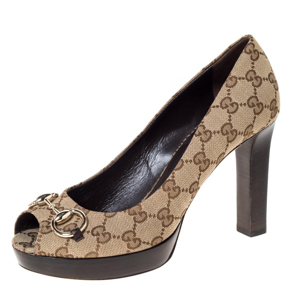 Gucci Beige GG Canvas Horsebit Peep Toe Wooden Platform Pumps Size 39.5