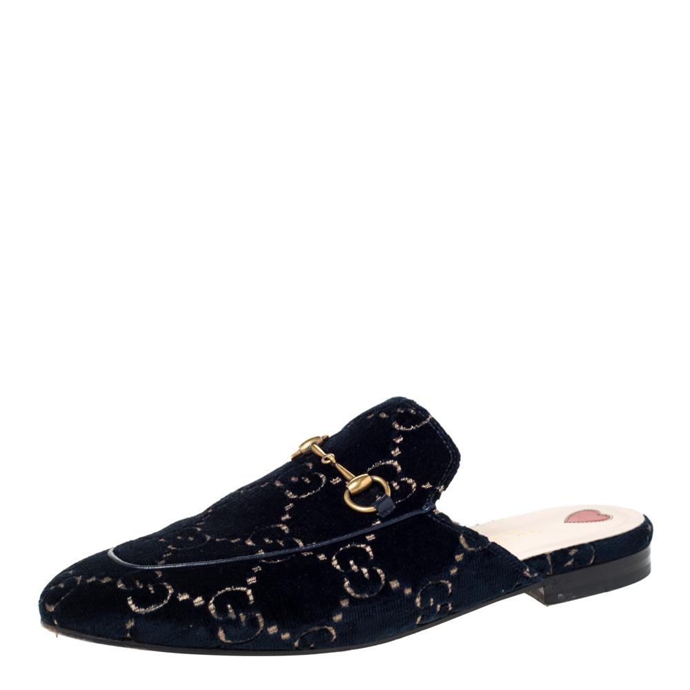 Gucci Blue/Gold GG Velvet Princetown Horsebit Flat Mules Size 41