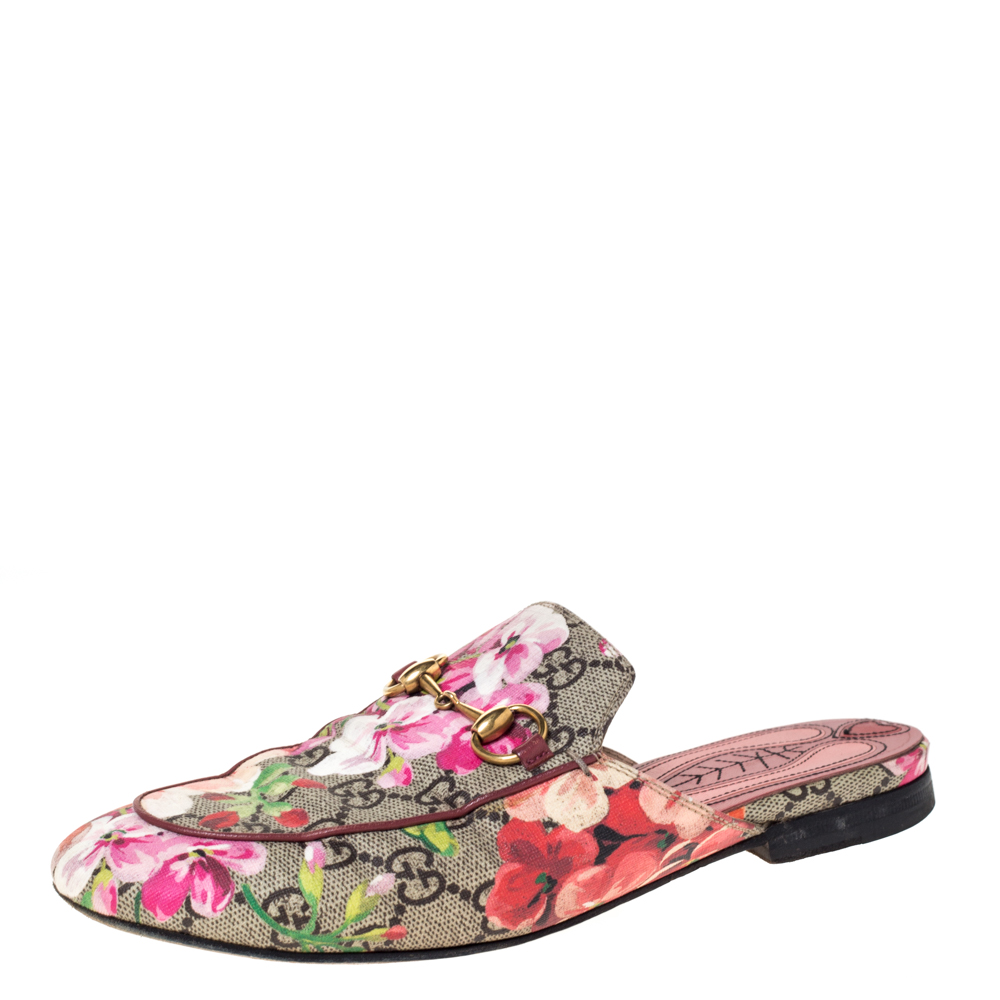 Gucci Multicolor GG Supreme Blooms Printed Canvas Princetown Horsebit Loafer Slides Size 36