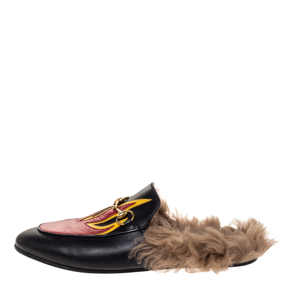 Gucci Black Leather And Fur Princetown Flame Horsebit Flat Mules Size 37