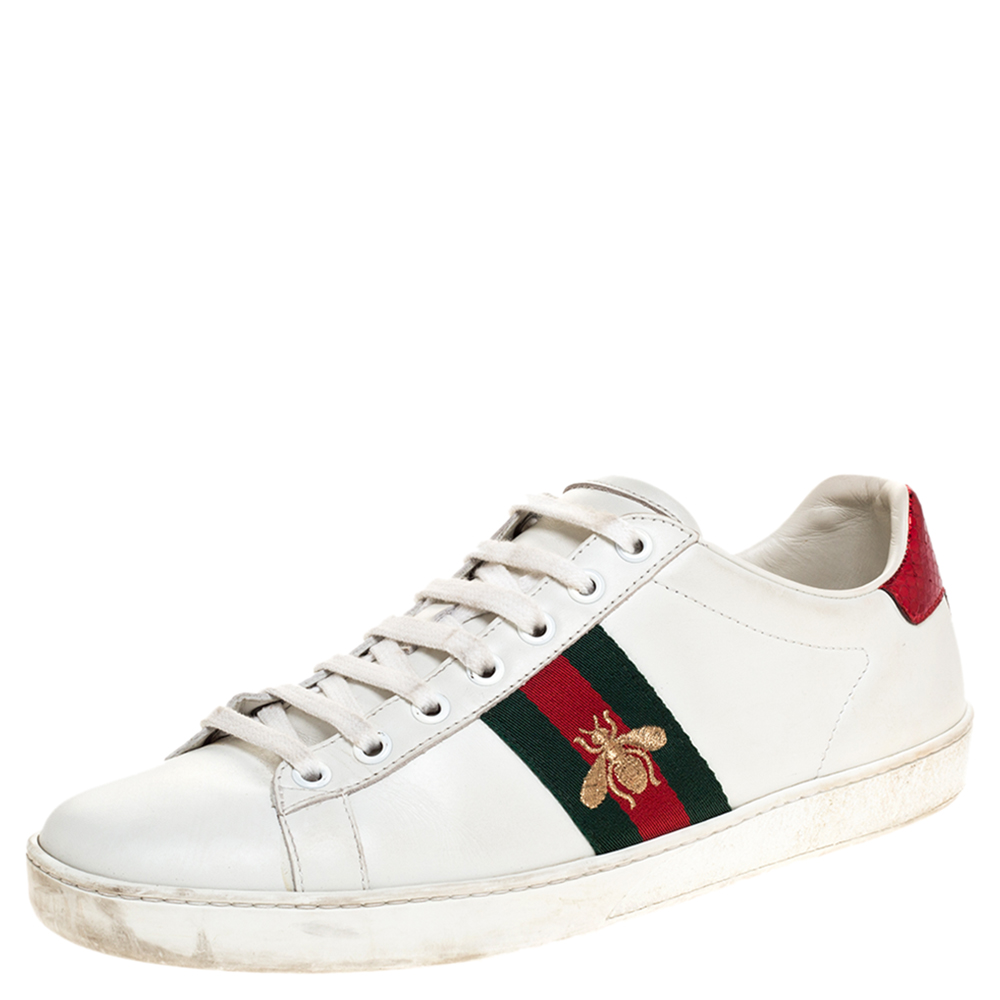 Gucci White Leather Embroidered Bee Ace