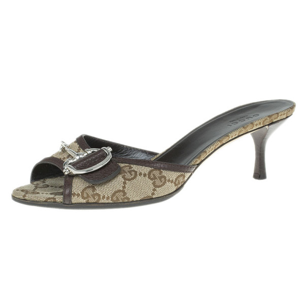 Gucci Guccissima Canvas Horsebit Slides Size 37