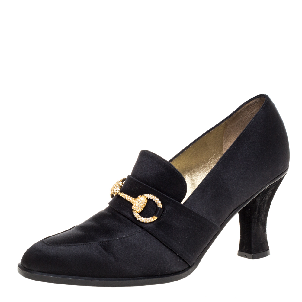 Pre-owned Gucci Black Satin And Suede Crystal Embellished Horsebit Loafers Pumps Size 39