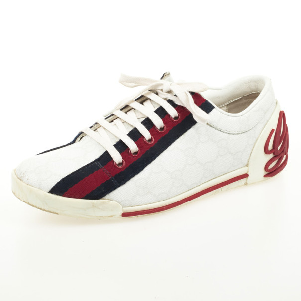 9c1a89e286a Buy Gucci White Guccissima Canvas Sneakers With Web Detail Size 37 32004 at  best price