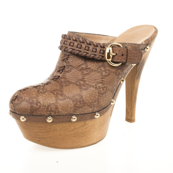 b0c839043303d Buy Gucci Brown Guccissima Leather Janis High Heel Platform Clogs Size 40  32034 at best price