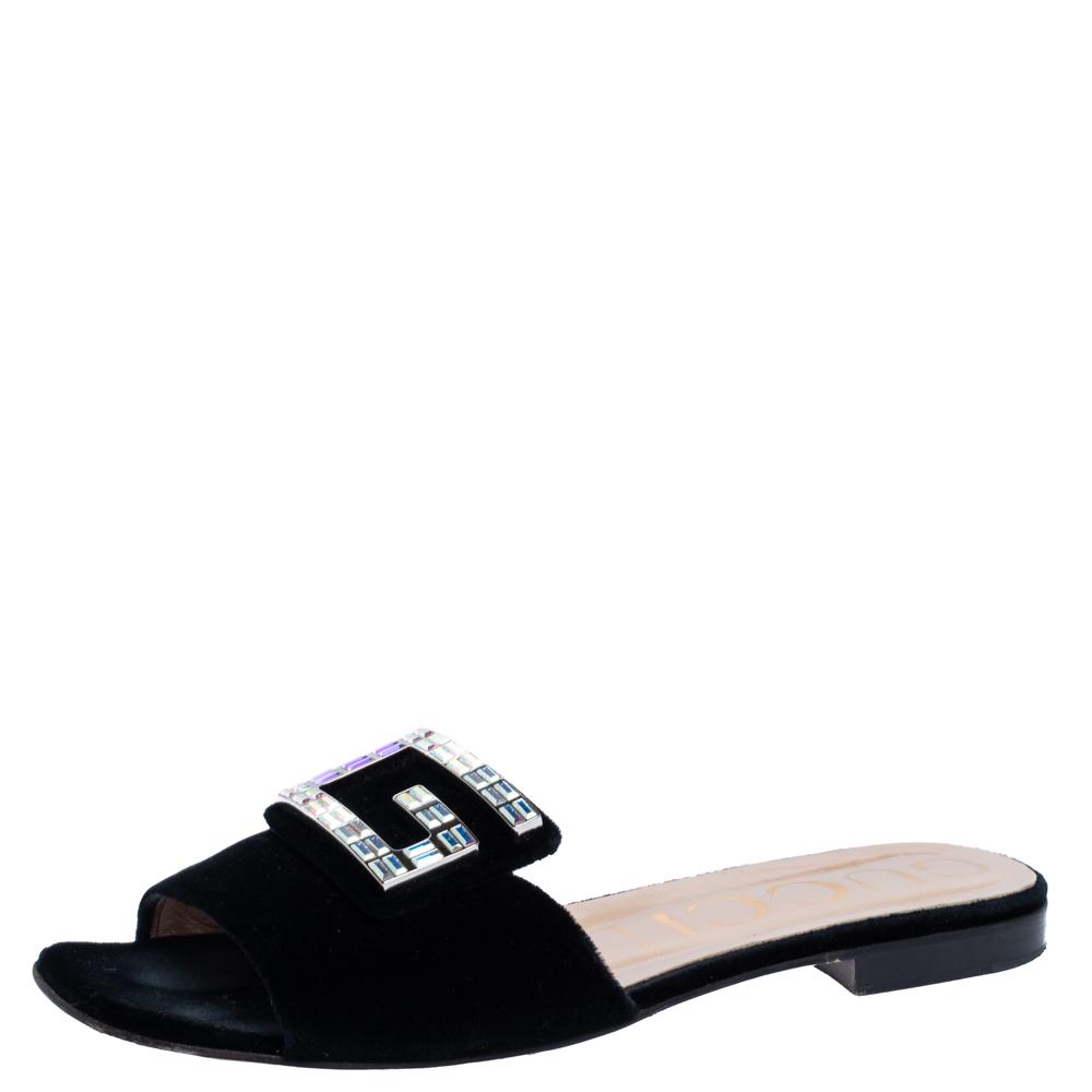 Pre-owned Gucci Black Velvet Crystal G Slide Sandals Size 40