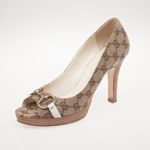 098500ff0fb ... Gucci Guccissima Canvas Horsebit Peep Toe Platform Pumps Size 39.  nextprev. prevnext