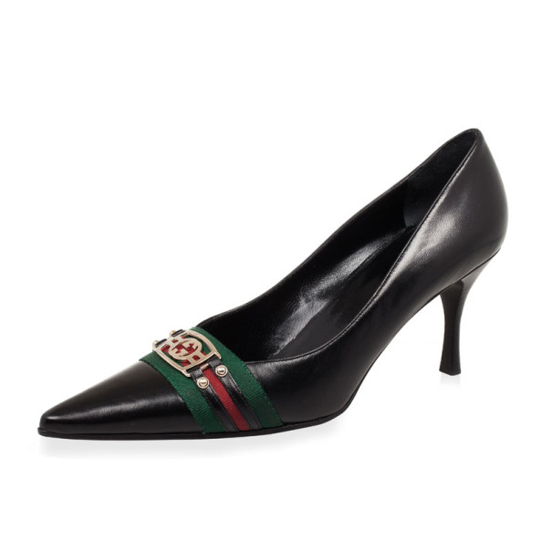 Gucci Black Leather Pointed Toe Pumps With Web Detail Size 39