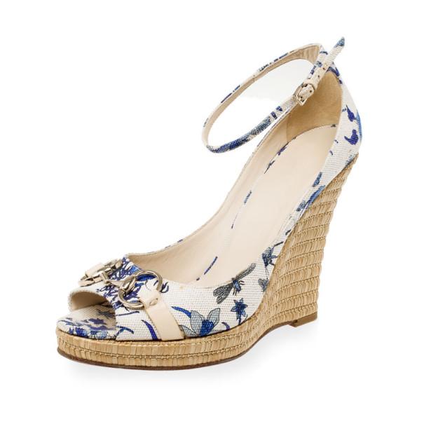 Gucci Blue Floral Horsebit Ankle Strap Espadrilles Wedges Size 39