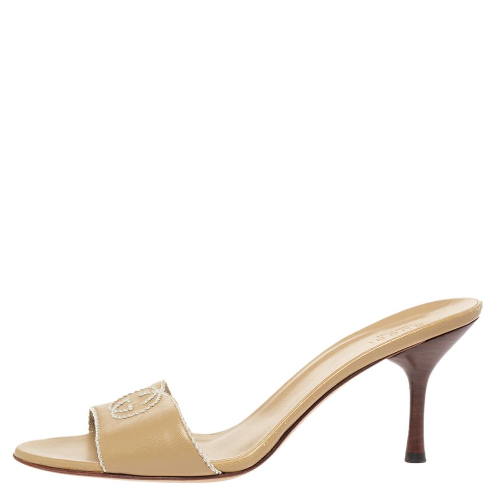 Gucci Beige Leather Stitched Interlocking GG Slide Sandals Size 38.5