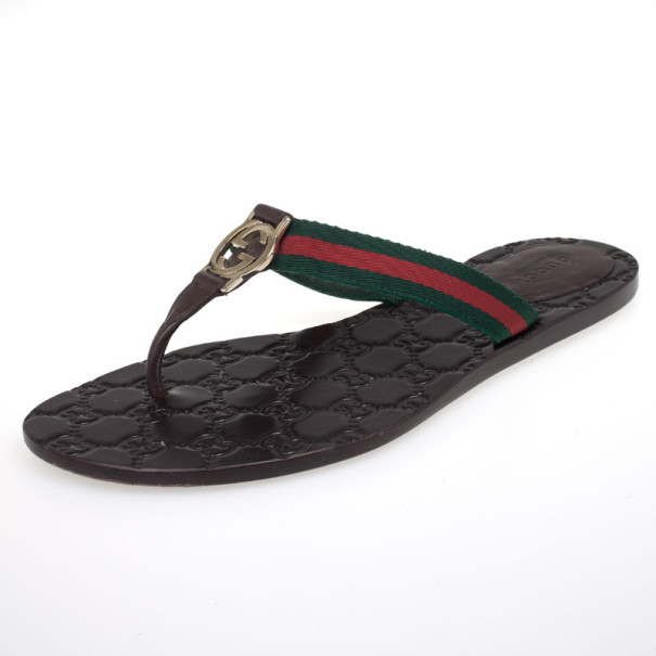 2abd98c4c626 Buy Gucci Brown  GG  Thong Web Detail Sandals With Double  G ...