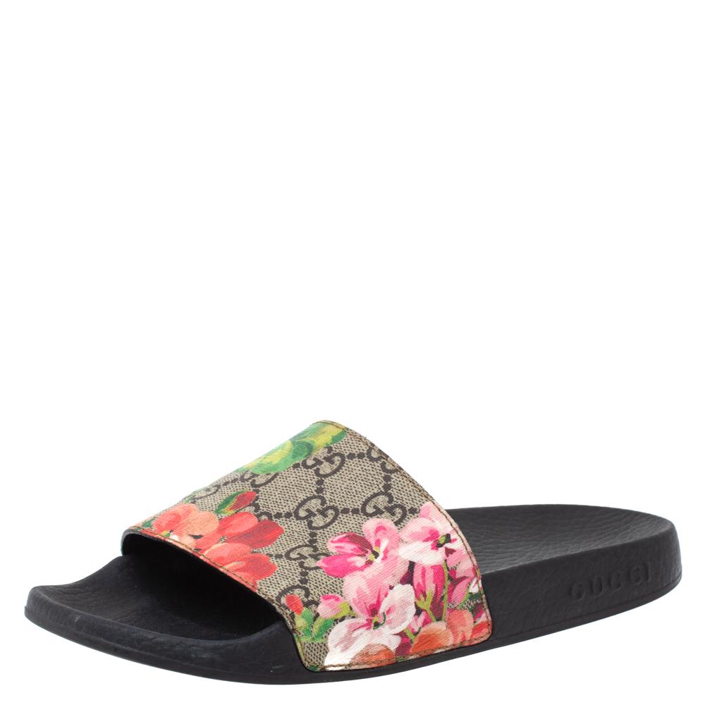 Gucci Beige GG Supreme Blooms Canvas Flat Slides Size 36