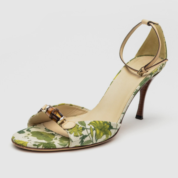 6da33e84b4ce Buy Gucci Green Flora Canvas Bamboo Ankle Strap Sandals Size 39.5 ...