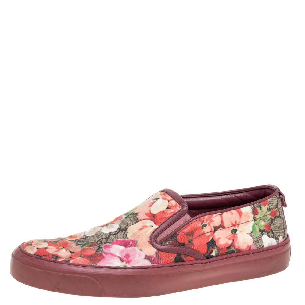Gucci Multicolor GG Supreme Blooms Printed Canvas Slip On Sneakers Size 37
