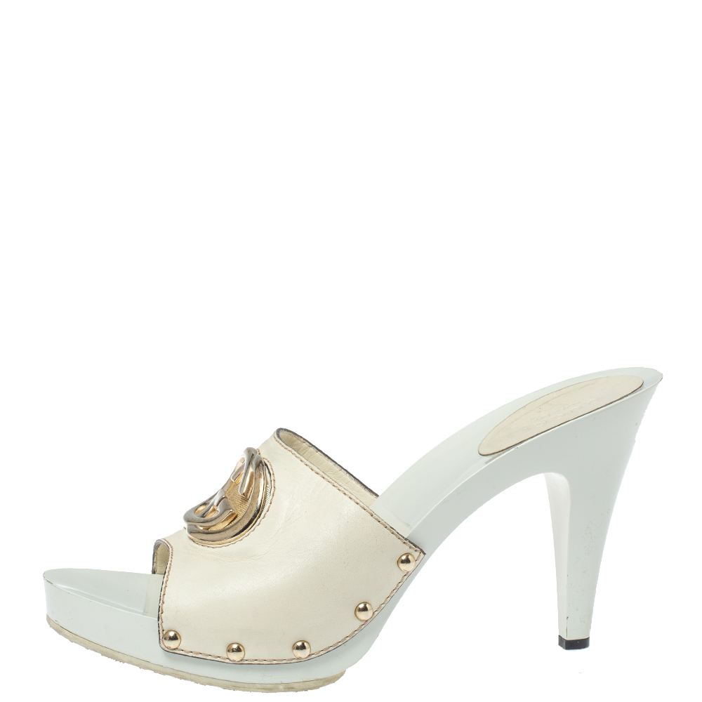 Gucci White Leather GG Open Toe Platform Clog Sandals Size