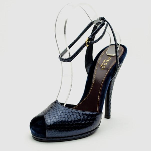 cec4b983cc7 ... Gucci Navy Blue Snakeskin Peep Toe Ankle Strap Sandals Size 38.5.  nextprev. prevnext