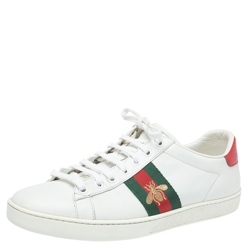 GUCCI WHITE LEATHER ACE WEB LOW TOP SNEAKERS SIZE 38.5