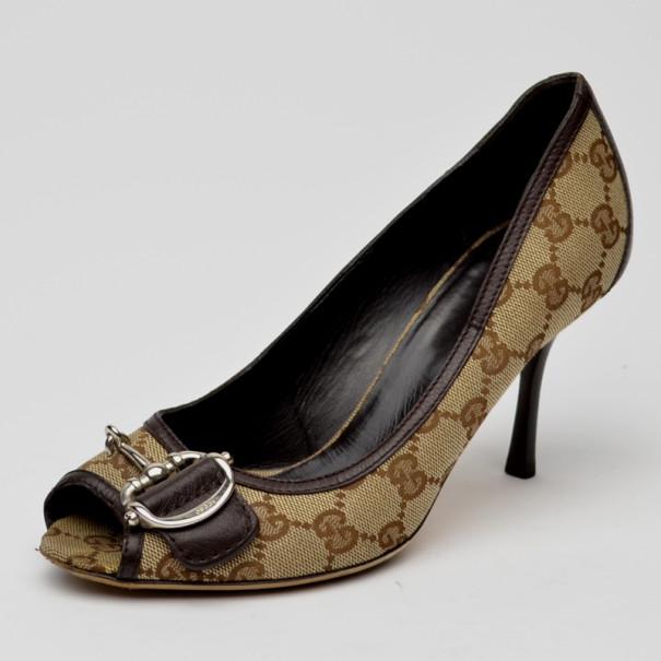 Gucci Brown Monogram GG Peep Toe Pumps Size 37.5