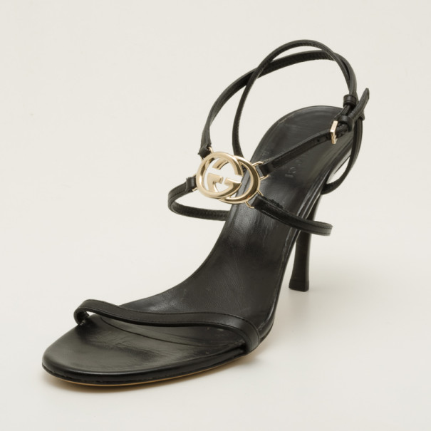 33797fa25b5 Buy Gucci Black Leather Logo Strappy Sandals Size 40 36774 at best ...