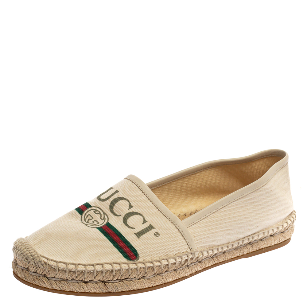 Pre-owned Gucci White Canvas And Leather Trim Logo Print Espadrilles Size 38.5