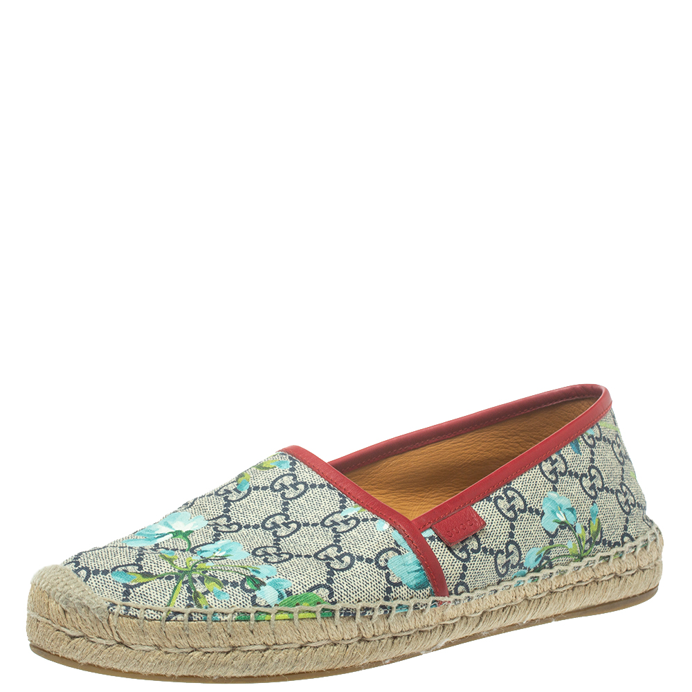 Gucci Multicolor GG Supreme Blooms Printed Canvas Flat Espadrilles Size 40