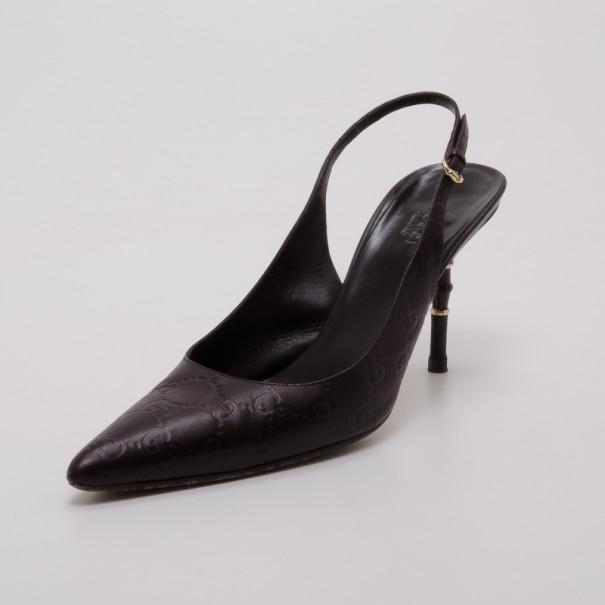 6f60e5b67 ... Gucci Brown Guccissima Pointed Toe Slingback Heels Size 39.5. nextprev.  prevnext