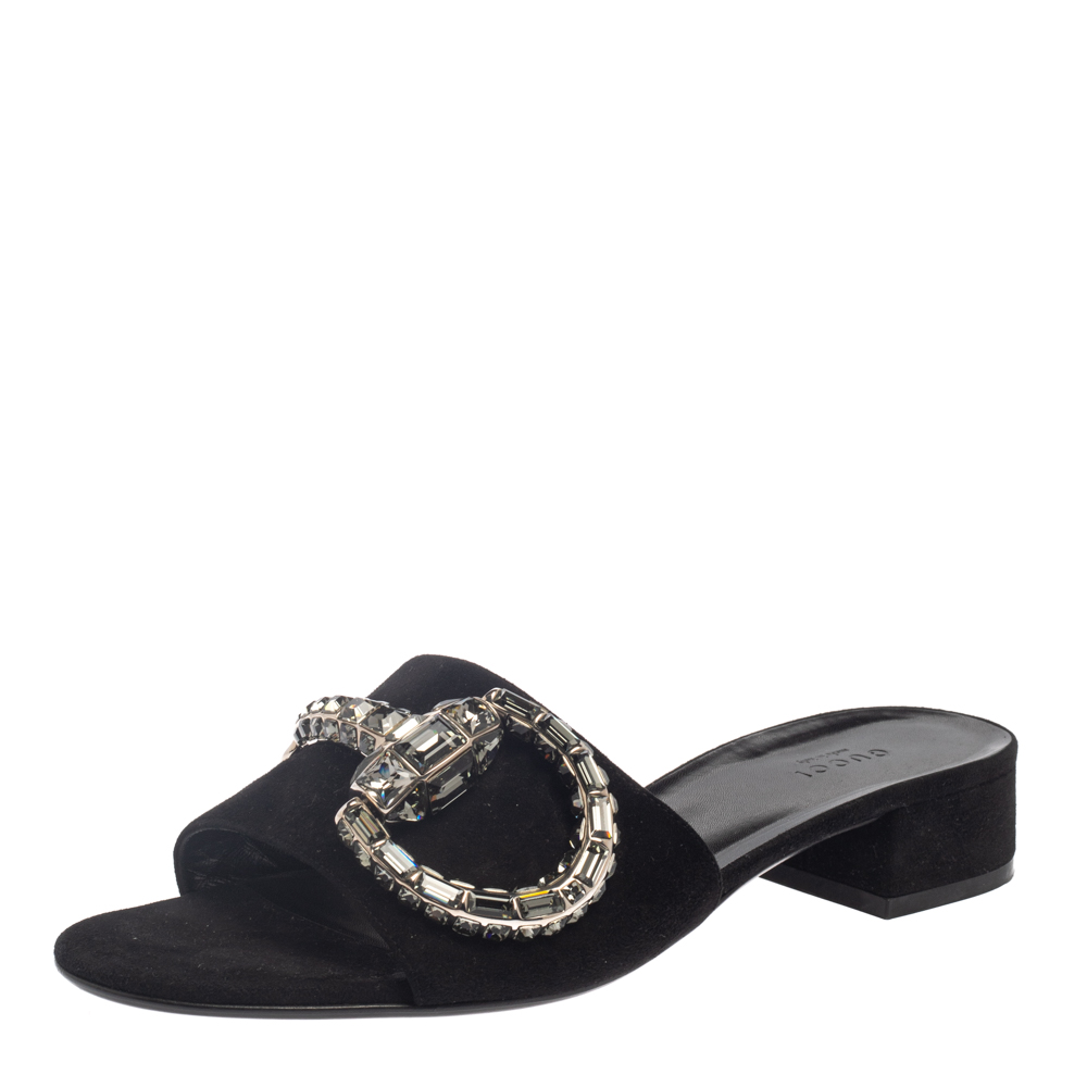 Pre-owned Gucci Black Suede Maxime Crystal Horsebit Slide Sandals Size 40