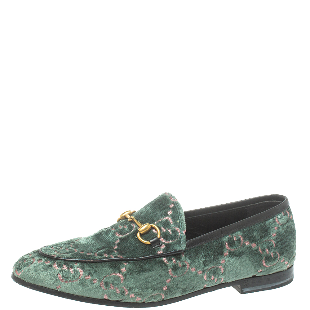 Pre-owned Gucci Green Gg Velvet And Leather Jordaan Horsebit Loafers Size 37