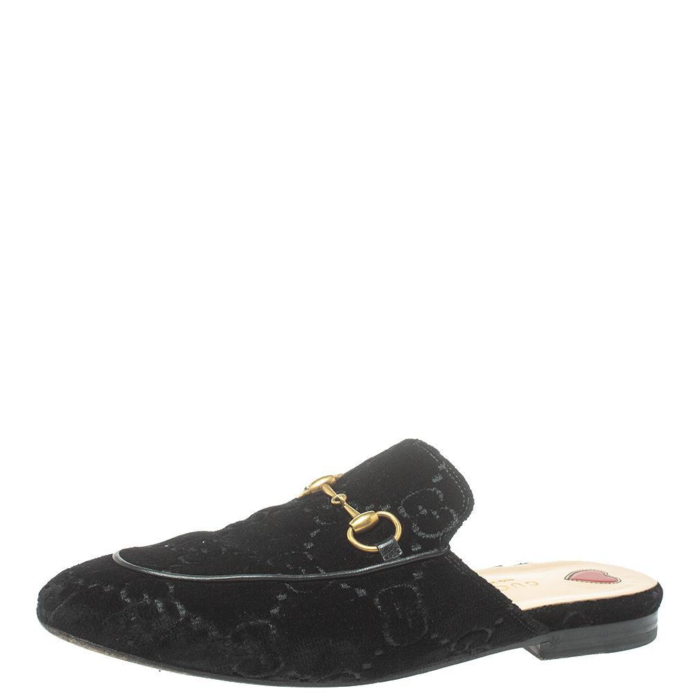 Pre-owned Gucci Black Velvet Gg Princetown Horsebit Flat Mules Size 37