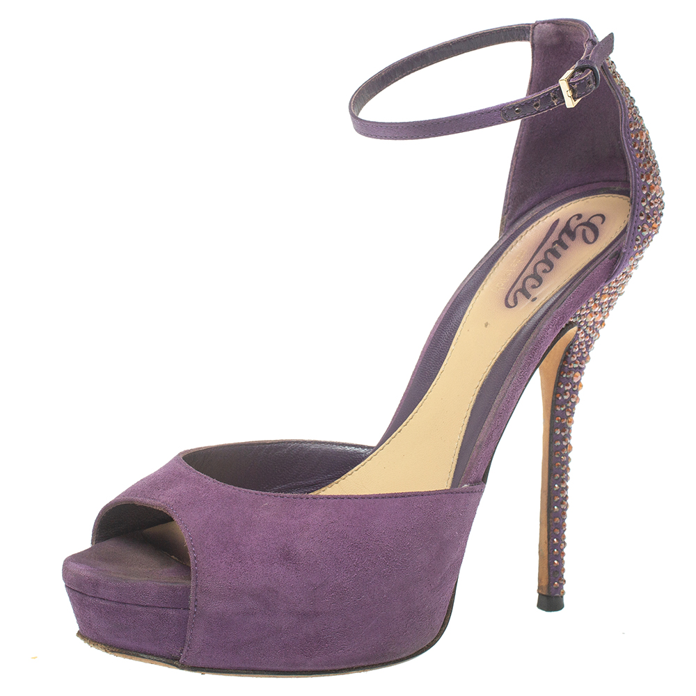 Pre-owned Gucci Purple Suede Embellished Ankle Strap Sandals Size 37