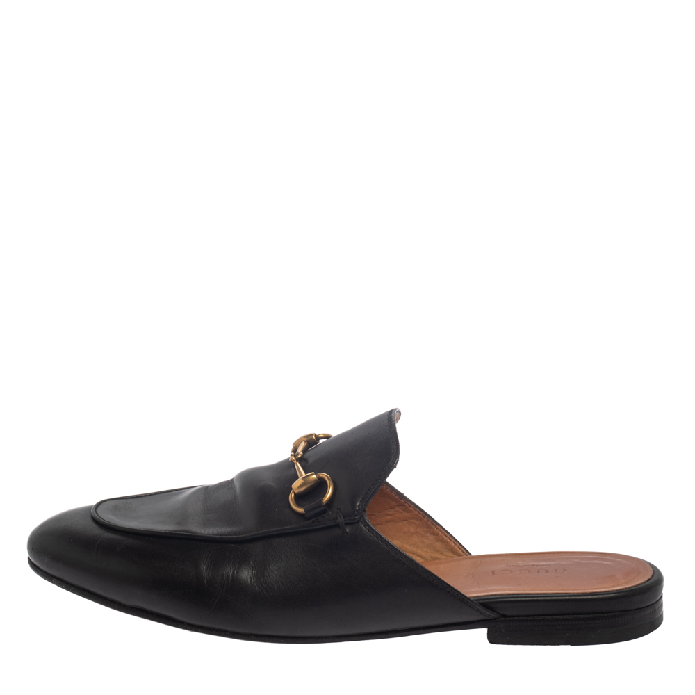 Gucci Black Leather Princetown Sandals Size 38  - buy with discount