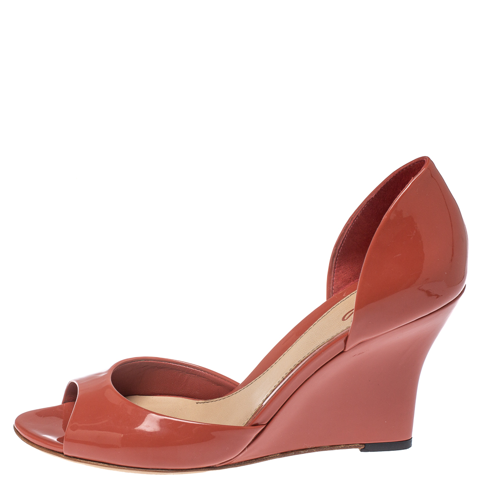 Gucci Orange Patent Leather Wedge Sandals Size 38.5  - buy with discount