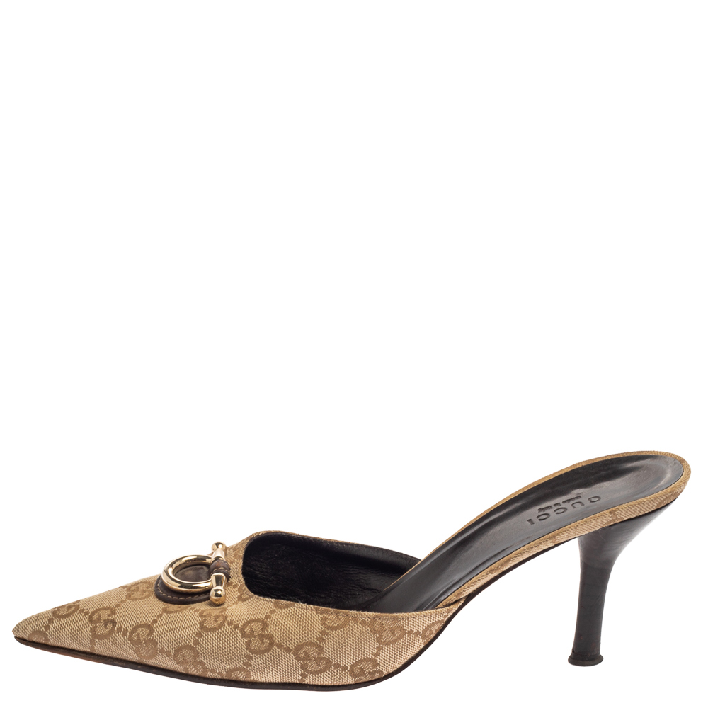 Gucci Beige GG Canvas Mules Size 38.5
