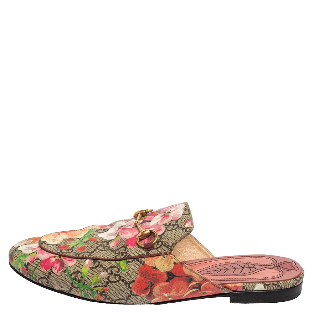 Gucci Multicolor Floral Canvas Princetown Horsebit Flat Mules Size 39