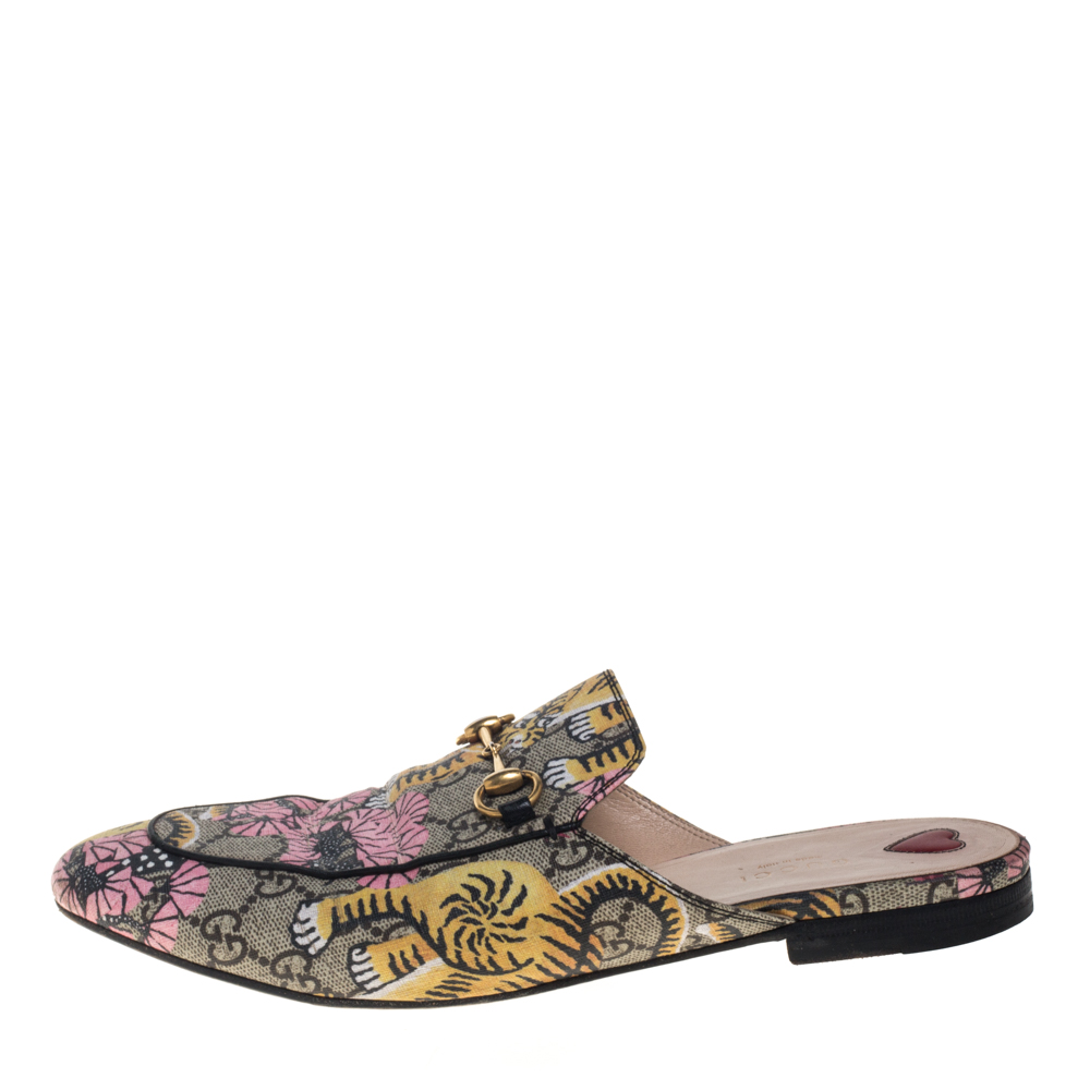 Gucci Multicolor GG Supreme Bengal Princetown Mule Sandals Size 40