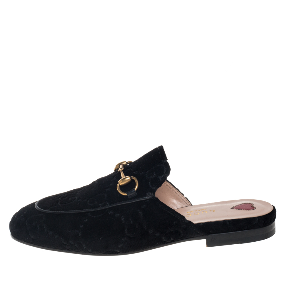 Gucci Black GG Velvet And Leather Princetown Horsebit Flat Mules Size 35