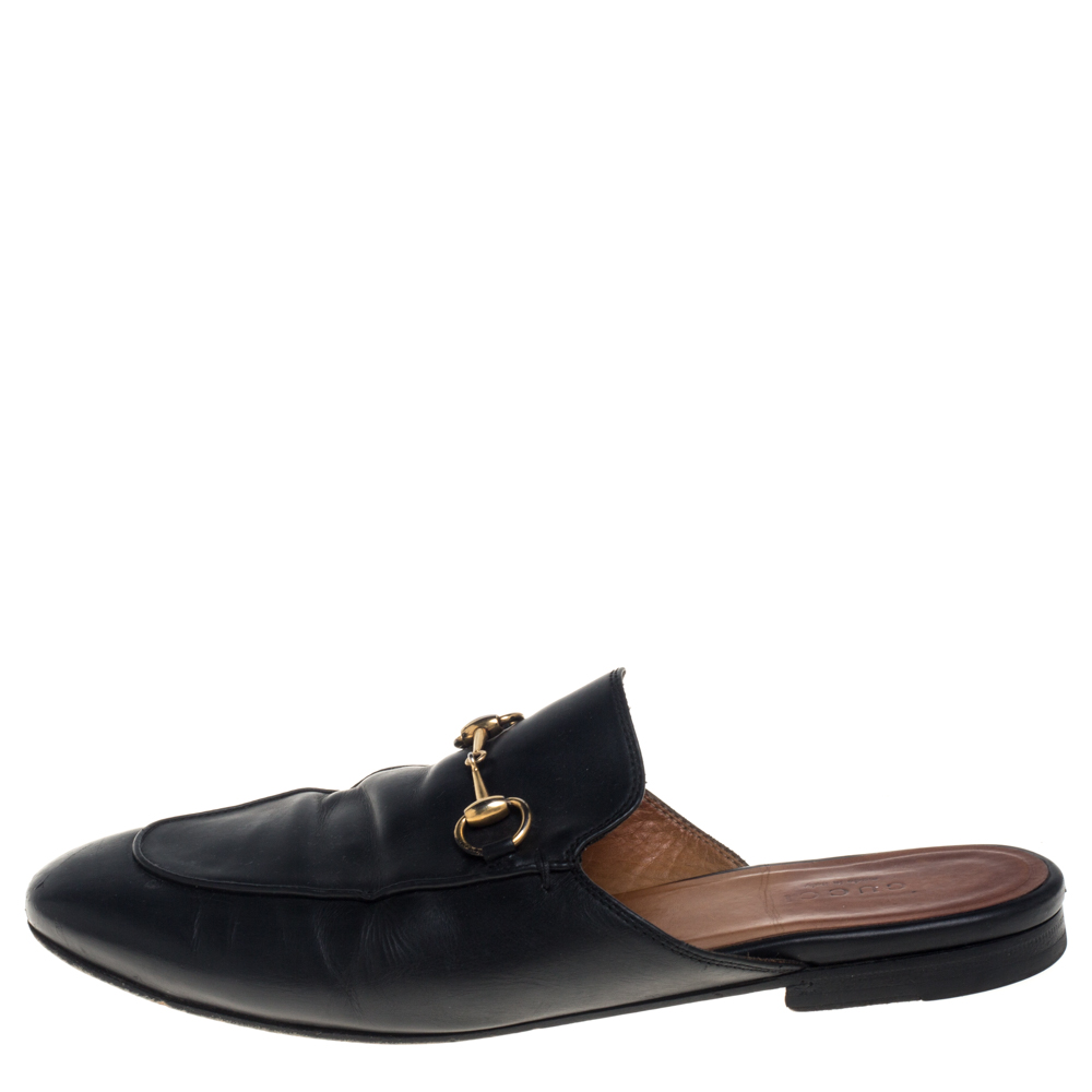 Gucci Black Leather Horsebit Princetown Flat Mules Size 38.5